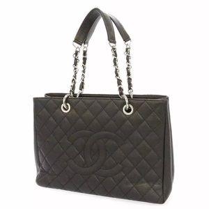 CHANEL Chain Tote Bag Caviar Leather